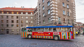 Excursion touristic bus in the Old city in Riga Stock Image