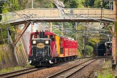 A excursion train in Japan. The excursion train Sagano Torokko from Saga to Kameoka in Kyoto, Japan Royalty Free Stock Image