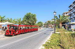Excursion train in Rhetymno. On the street Stock Images