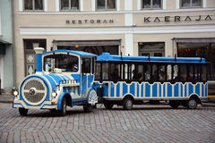 Excursion train on Tallinn street Royalty Free Stock Photography