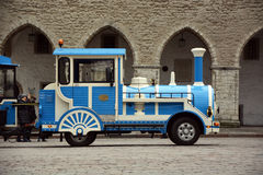 Excursion train on Tallinn street Royalty Free Stock Image