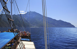 Excursion on a yacht at Mount Athos Stock Photo