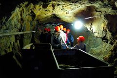 Excursions in the underground mine. Excursion in the old adit of the uranium mine in the town of Jachymov in the Czech Republic Royalty Free Stock Photography