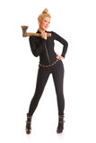 Exe. Beautiful slim blond female holding an axe Stock Images