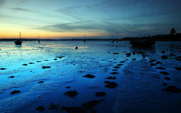 Exe estuary twilight night. Cool blue light left over the exe estuary in east devon after sunset Stock Images