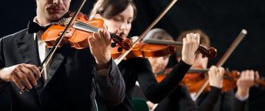 Execução da orquestra do violino Imagens de Stock Royalty Free