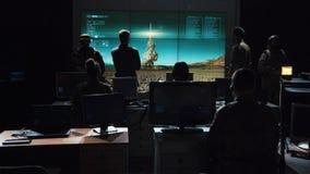 Execução de observação militar da ordem para lançar o míssil Fotos de Stock Royalty Free
