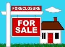Execução duma hipoteca da HOME dos bens imobiliários com para sinal da venda ilustração do vetor