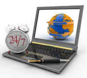 Executing online delivery of goods in the stream 24 hour Royalty Free Stock Photo