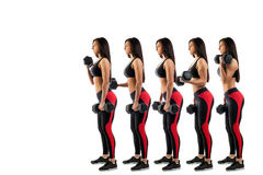 Execution on a bicep with dumbbells. Stages of execution on a bicep with dumbbells, beautiful young woman, isolated white background stock image