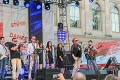 Execution of live music on stage. Annual international festival of jazz and blues in St. Petersburg Stock Images