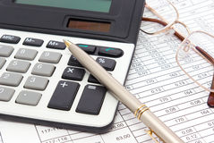 Execution mathematical and financial calculation Stock Images