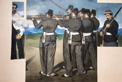 The Execution of Maximilian, by Edouard Manet. Painting on display showing The Execution of Maximilian, by Edouard Manet, done arround 1867 - 8. National Gallery Stock Image