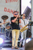 Execution trumpet solo at the microphone. Annual international festival of jazz and blues in St. Petersburg Stock Image