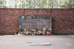 Execution wall, Auschwitz. The wall that prisoners stood in front of waiting to be executed, Auschwitz concentration camp, Poland royalty free stock images
