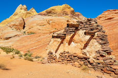 Execution wall in Valley of Fire Provincial Park, Nevada, USA Royalty Free Stock Photos