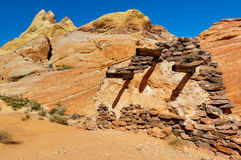Execution wall in Valley of Fire Provincial Park, Nevada, USA.  Stock Photos