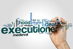 Executioner έννοια σύννεφων λέξης στο γκρίζο υπόβαθρο Στοκ φωτογραφία με δικαίωμα ελεύθερης χρήσης