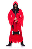 Executioner στο κόκκινο κοστούμι με το τσεκούρι Στοκ φωτογραφία με δικαίωμα ελεύθερης χρήσης