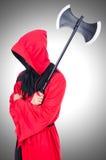 Executioner στο κόκκινο κοστούμι Στοκ φωτογραφία με δικαίωμα ελεύθερης χρήσης
