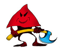 Executioner 1. Cartoon illustration of executioner with axe on white background Stock Images