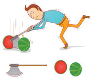Executioner. Illustration of an executioner splitting a water melon Royalty Free Stock Images