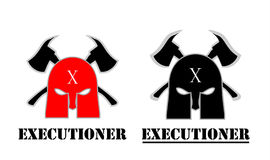 The executioner. Mask and axe logo Stock Photo