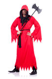 Executioner in red costume with axe Royalty Free Stock Photos