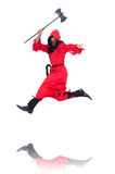 Executioner in red costume with axe Royalty Free Stock Image