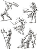 Executioner Sketches. Old-Time Executioner Sketches. Set of black and white vector illustrations Royalty Free Stock Image