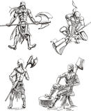 Executioner Sketches. Old-Time Executioner Sketches. Set of black and white vector illustrations Stock Photo