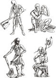 Executioner Sketches. Old-Time Executioner Sketches. Set of black and white vector illustrations Royalty Free Stock Photos