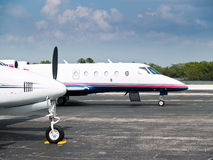 Executive Aircraft. Parked at a regional airport Stock Image