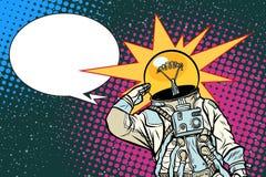 Executive astronaut head light bulb idea. Pop art retro vector illustration Stock Image