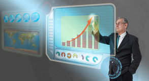 Executive business man touching future dashboard. For success Royalty Free Stock Images