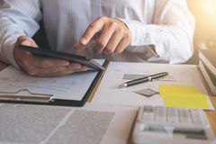 Executive businessman analysis working Financial investment on t Royalty Free Stock Photos