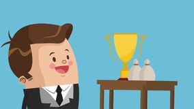 Executive businessman cartoon HD animation. Businessman with trophy cup and money bags High Definition animation colorful scenes stock footage