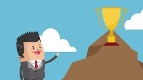 Executive businessman cartoon HD animation. Businessman with trophy cup on mountain peak High Definition animation colorful scenes stock video