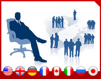 Executive Businessman with internet flag buttons. 