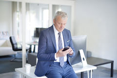 Executive businessman with mobile phone. Shot of a senior advisor using his handy and texting message while sitting at his workplace Royalty Free Stock Image