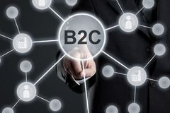 Executive businessman in suit touching B2C button in network with factory and people icons on virtual touch screen - business to. Customer or consumer network stock photography