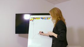 Executive businesswoman drawing diagram on flipchart in office. Handheld shot. Attractive blonde manager drawing graph on whiteboard for presentation stock video