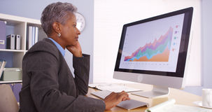 Executive businesswoman talking on phone and looking at graphs Stock Photography
