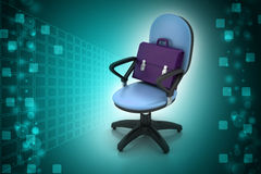 Executive chair with briefcase stock illustration