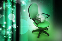 Executive chair with money container Stock Photos