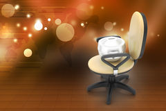 Executive chair with money container Royalty Free Stock Images