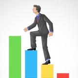 Executive Climbing Bar Graph. Editable vector illustration of a executive climbing bar graph Stock Image