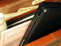 Executive Computer Bag. This is an image of the interior of an executive computer bag royalty free stock image