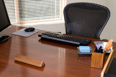 Executive Desk. Executive Office Desk with and chair with Blank Nameplate for Your Text Stock Photo