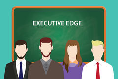Executive edge white text illustration with four people standing in front of green chalkboard Stock Photo